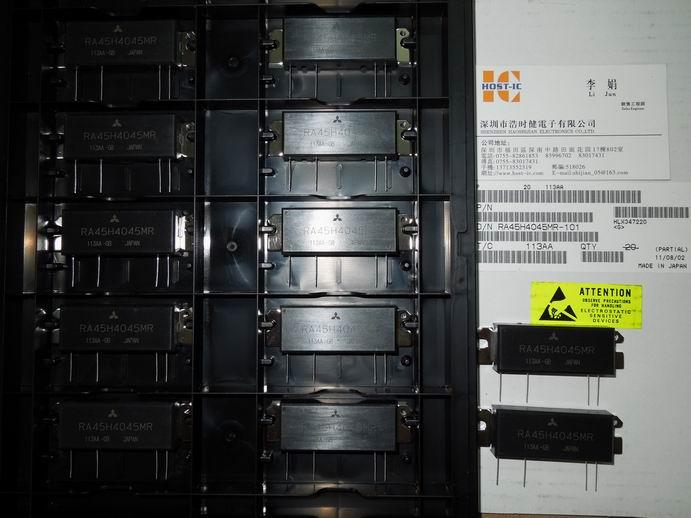 RA45H4045MR是45-watt RF的MOSFET放大器模块12.5-volt移动电台在向工作在400-450-MHz范围.电池可以直接连接到漏极增强型MOSFET晶体管.如果没有门电压(VGG进入=0V),只有一小漏电流排水和输入信号衰减的RF高达60 dB.输出功率和漏电流增加门极电压上升.与周围4V(最低),输出功率和电压门漏电流大幅增加.